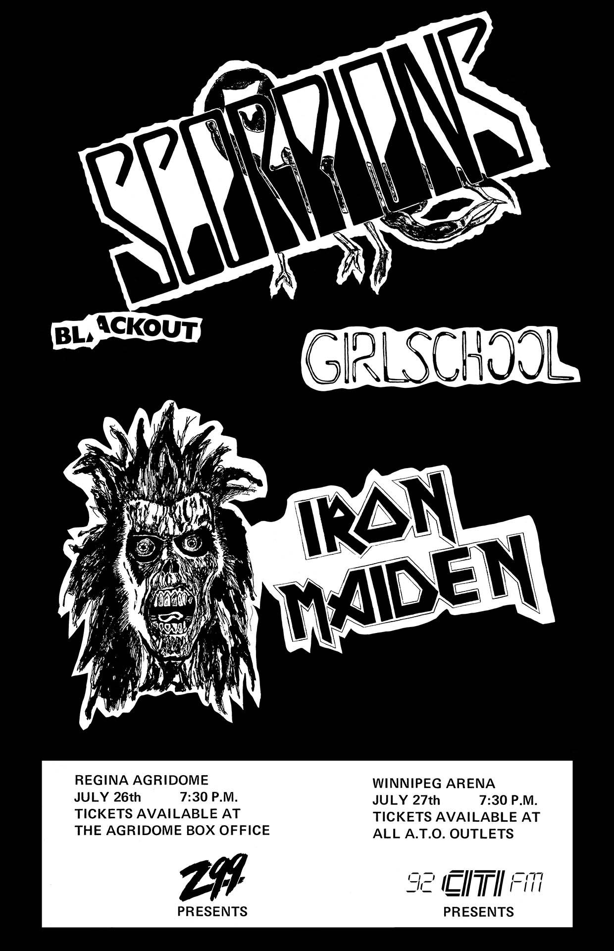 SCORPIONS – IRON MAIDEN – GIRLSCHOOL – 1982